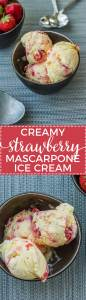 Homemade strawberry mascarpone ice cream is a creamy, refreshing summer treat. An impressive dessert for any BBQ or cookout.