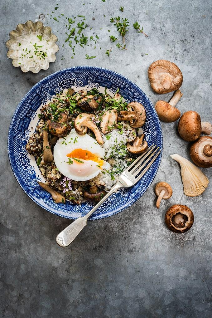 Vegetarian mushroom spinach quinoa risotto - supergoldenbakes.com