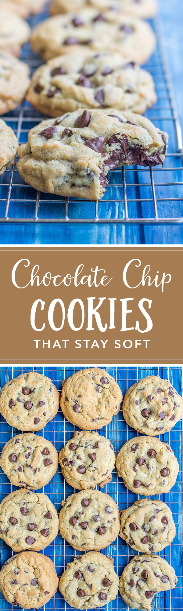 These thick, chewy chocolate chip cookies are so easy to make, pillowy soft and stay that way for days! Perfect to make in a big batch or ship to family! #chocolatechipcookies