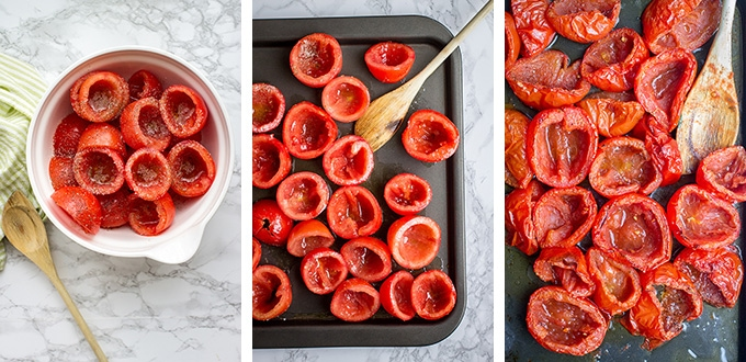 Tomatoes in the process of being roasted.