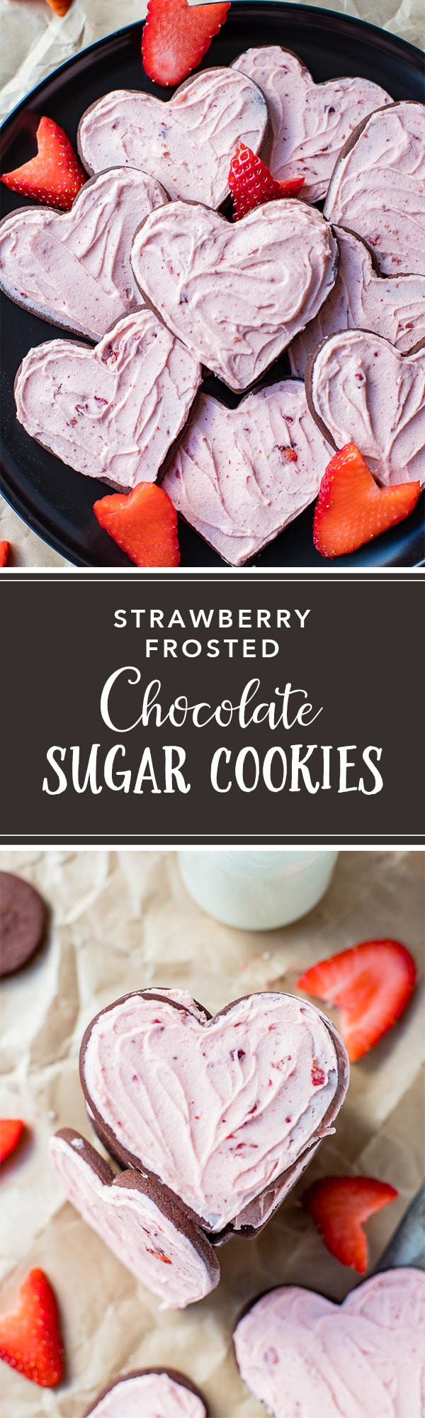 The best cut-out chocolate sugar cookies are easy to make, so fun for any occasion, and easy to decorate any way you choose. They're especially sweet with this delicious strawberry frosting! #sugarcookies #chocolatecookies #cutoutcookies #strawberry #strawberryfrosting #freezedriedstrawberries