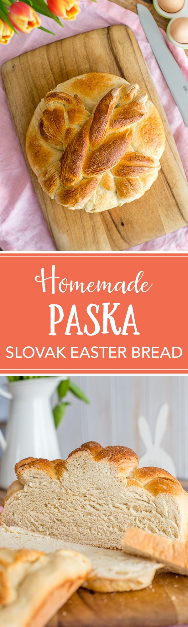 Homemade Paska is a traditional Slovak or Eastern European Easter bread sweetened with sugar and eggs for a rich, celebratory loaf. A favorite childhood tradition! #slovakrecipes #paska #easterrecipes #easterbread