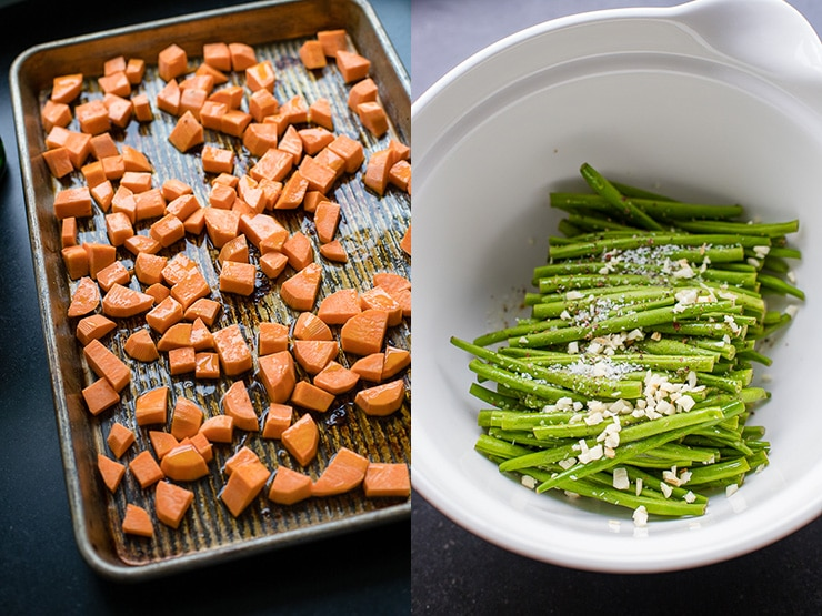 Peeled, cubed sweet potato ready to roast on a sheet pan, and green beans prepped to be added after a few minutes.