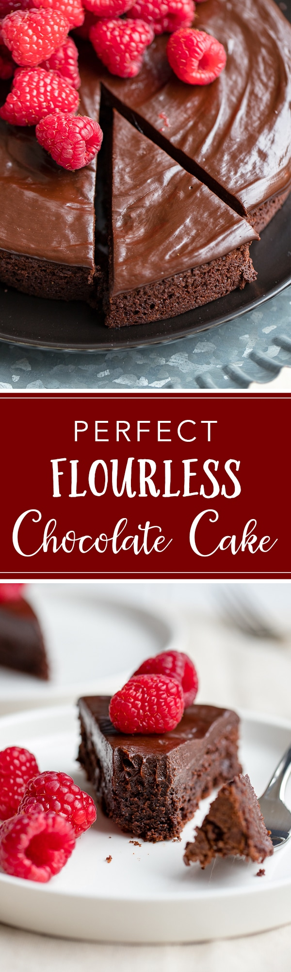 A fudgy, rich chocolate cake that is naturally gluten-free. Make this by hand in one bowl, then top with the easiest chocolate ganache (just chocolate and cream!) and fresh fruit for an impressive party dessert! #chocolatecake #glutenfree #glutenfreedessert #flourless