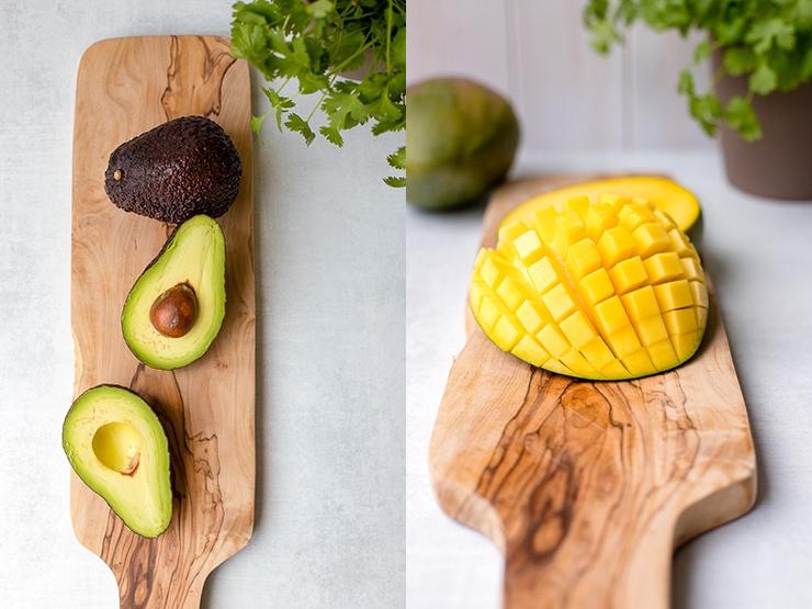 Glamour shots of cut-open avocado and cut-open mango.