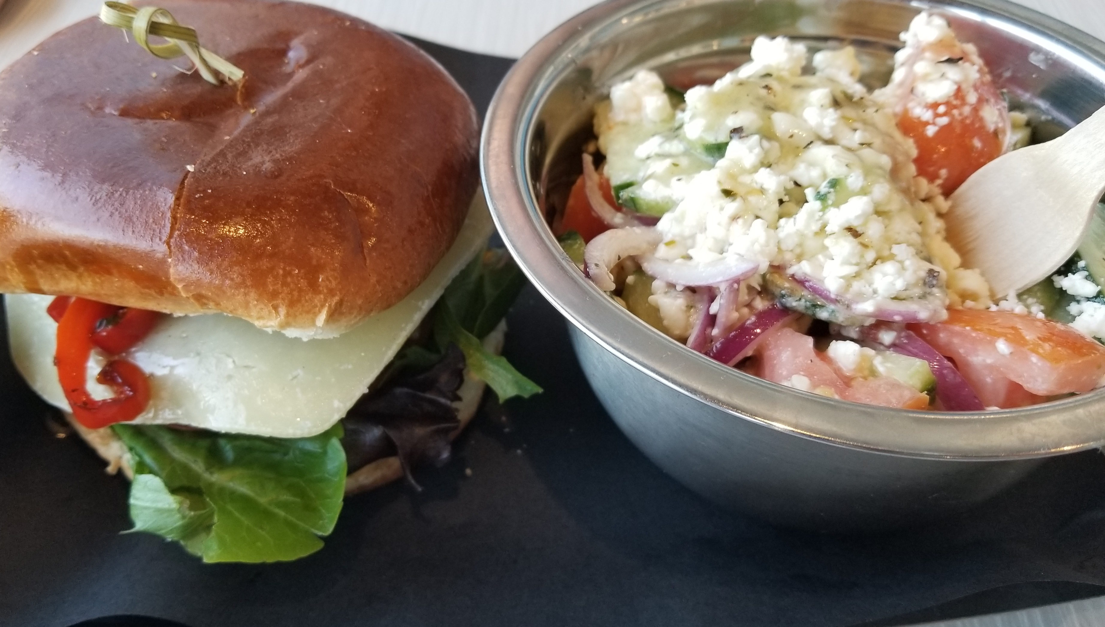 Olympus Burger and Greek salad