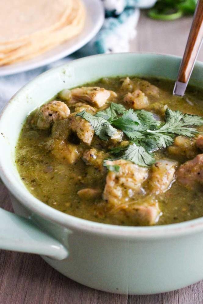 Chicken Chile Verde Recipe Served