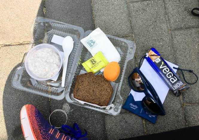 Lululemon Seawheeze 2017 Brunch Box - Gluten-Free Chia Pudding with Jam, Gluten-Free Banana Bread, Fruit, Chocolate, and Other Lululemon Free Swag