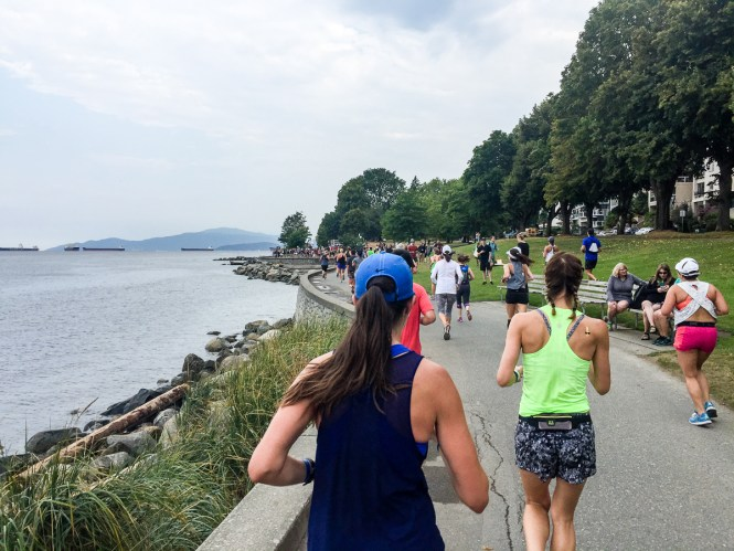 Running along the ocean in Vancouver during the Lululemon Seawheeze Half Marathon