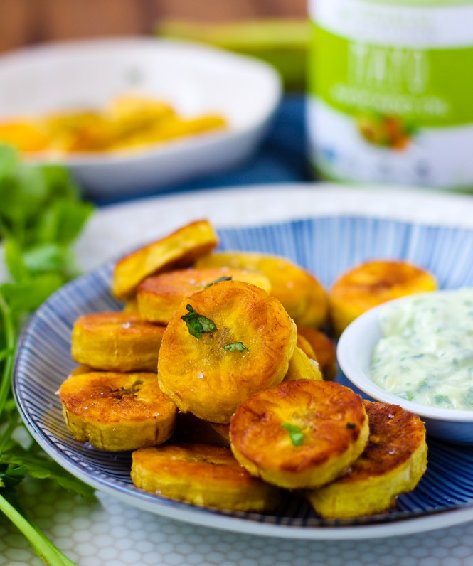 pan-fried plantains with cilantro garlic sauce