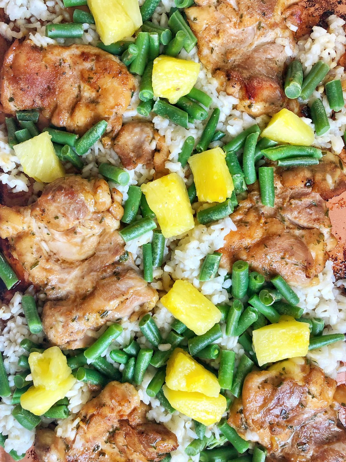 Sheet Pan Pineapple Chicken & Rice