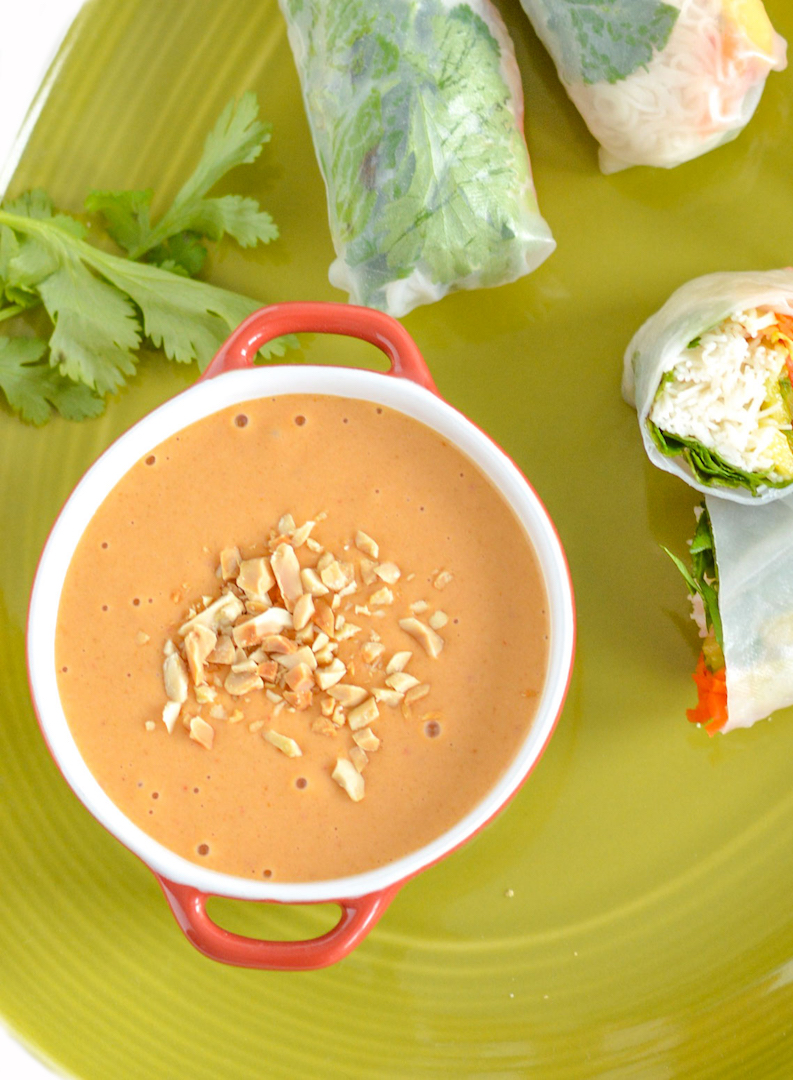 Gluten Free Peanut Sauce | The Best Ever Thai Peanut Dipping Sauce | gluten free and vegan | recipe | peanut sauce perfect for dipping fresh salad rolls.