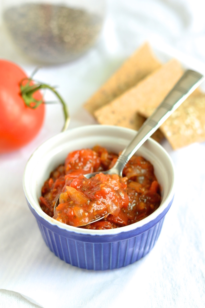 easy tomato chia seed jam | nourishedtheblog.com | a simple delicious sweet and savoury jam made with tomatoes, onions, a little sugar and lots of chia seeds