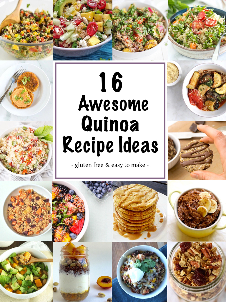16 Awesome Quinoa Recipe Ideas | A round up of 16 Awesome Quinoa Recipe Ideas featuring healthy, easy to make and gluten free breakfast, lunch, snack and dinner recipes made with quinoa. | nourishedtheblog.com