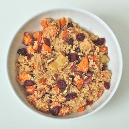 16 Awesome Quinoa Recipe Ideas   nourishedtheblog.com   Spiced Quinoa with Roasted Apples and Root Vegetables from Jessica @ Nutritioulicious