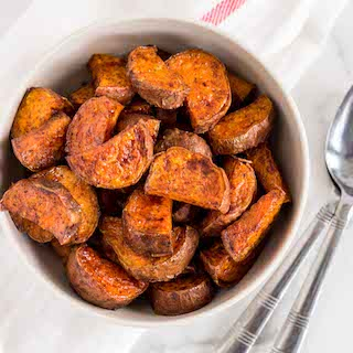 Maple Cinnamon Roasted Sweet Potatoes