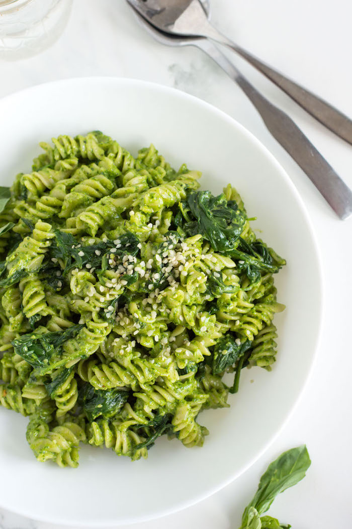 The Top 6 Recipes of 2016 | Gluten Free, Vegetarian, Easy to Make recipes | Creamy Spinach Pesto Pasta with Basil and Goat Cheese