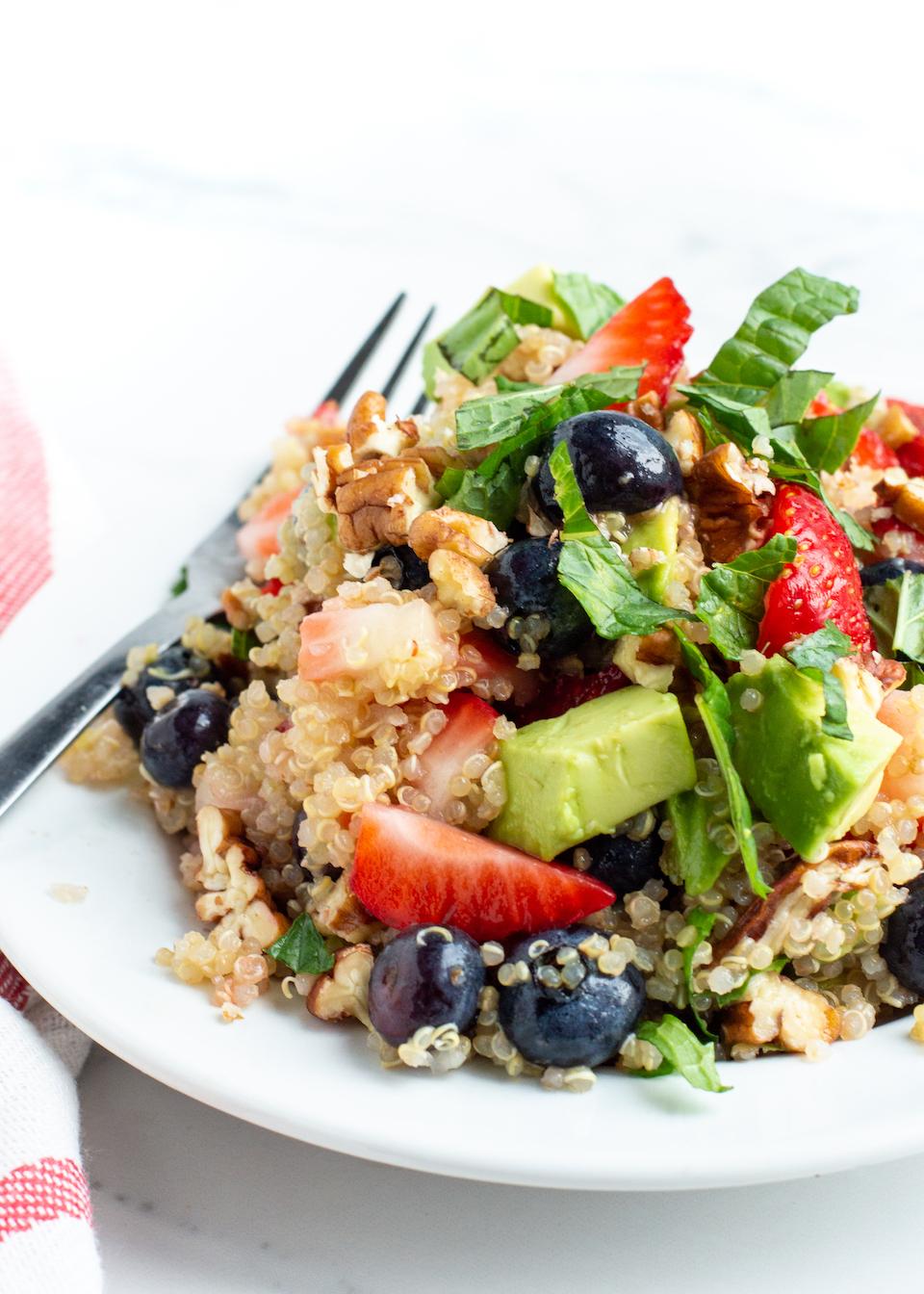 Summery Mixed Berry Quinoa Salad with Avocado