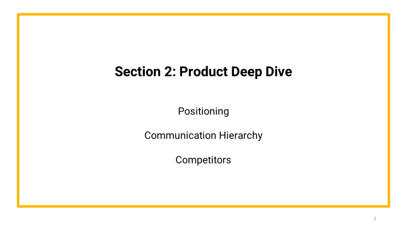 brand primer template Section 2 product deep dive