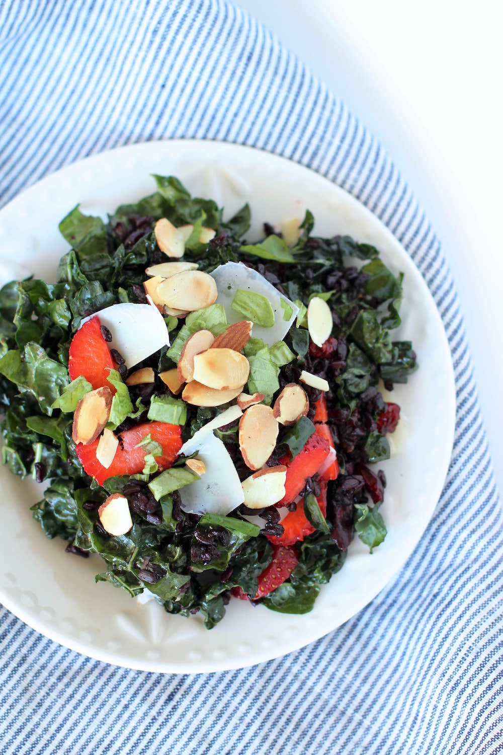 Wild Kale Salad Recipe | Kale salad with strawberries, balsamic feta, basil | Nourishing Wild