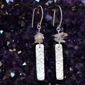 Handmade Silver Bar Drop Earrings with Quartz | Nourishing Wild