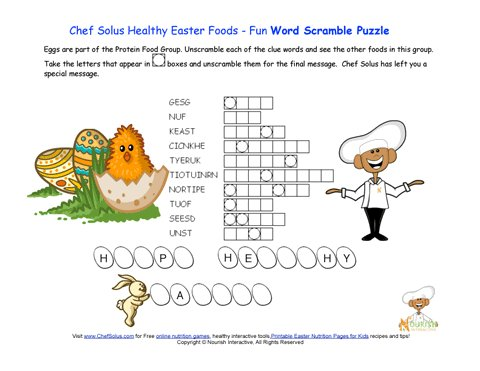 Holiday 5 Easter Word Scramble Protein Food Group