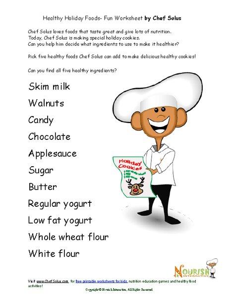 Chef Solus Fun Healthy Foods Christmas Cookies Worksheet