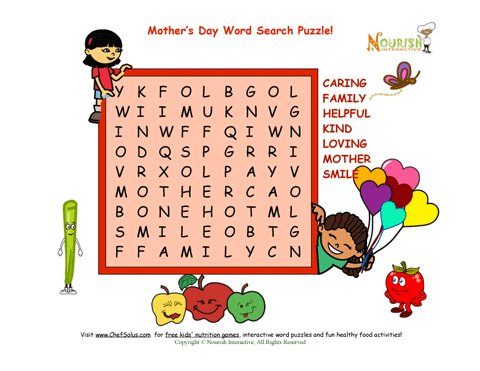 Holiday 6 Mother's Day Word Search Puzzle - 7 words