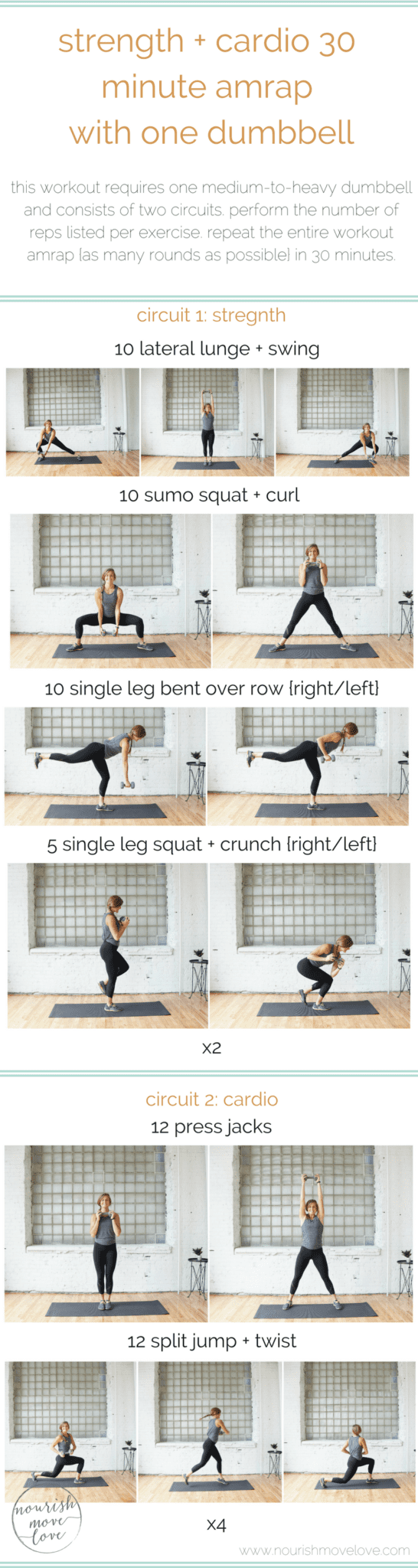 strength + cardio 30 minute amrap workout with one dumbbell | www.nourishmovelove.com