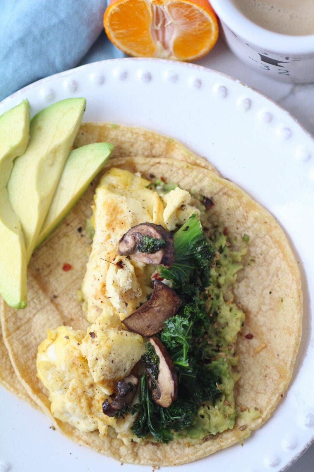Avocado Tortilla + Egg Scramble