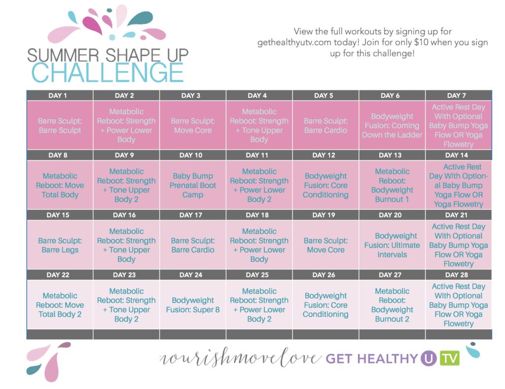 Summer Shape Up 28 Day Workout Calendar