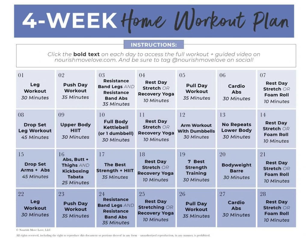 In addition to standard training with free weights. Free 4 Week Workout Plan For Women Full Body Nourish Move Love