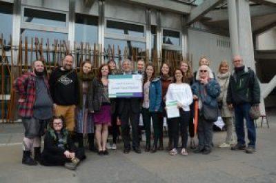 Nourish Scotland campaign outside Scottish Parliament