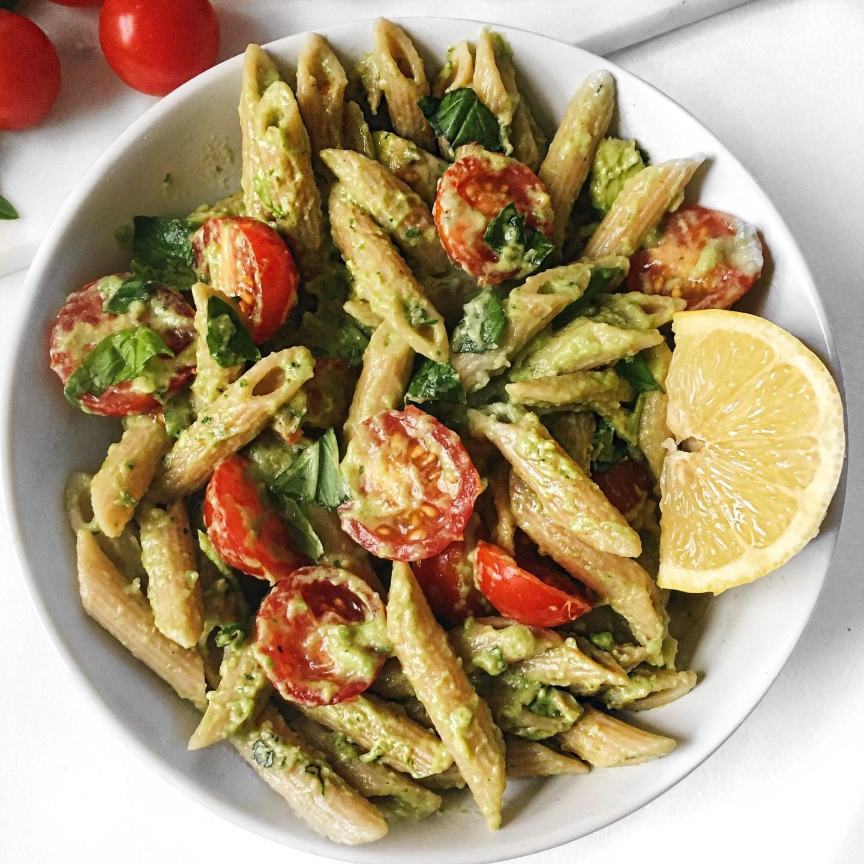 Quick and Easy Basil Avocado Pasta | Vegan + Gluten free