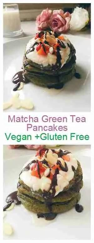 matcha green tea pancakes, vegan gluten free