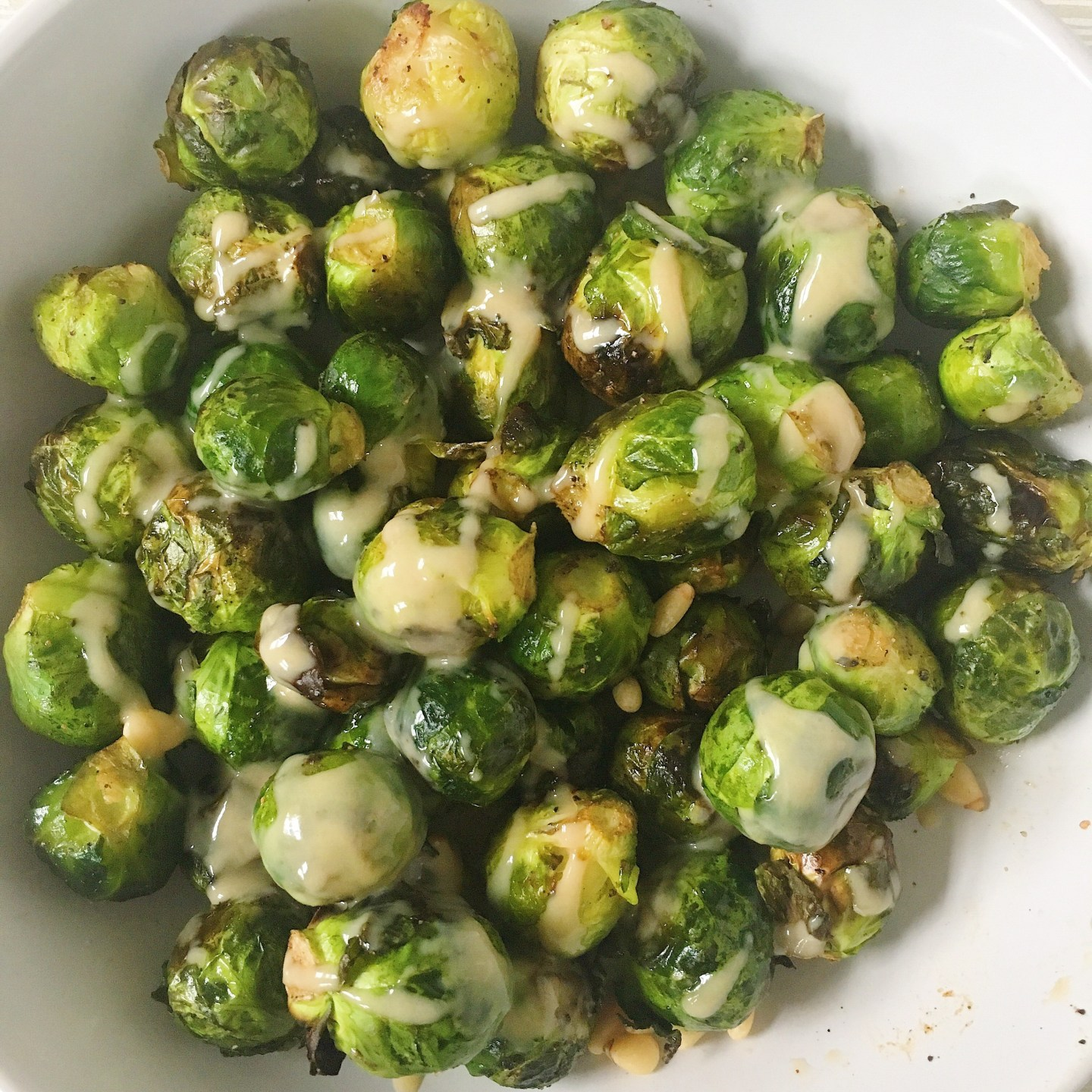 CRISPY BRUSSELS SPROUTS WITH TAHINI DRESSING