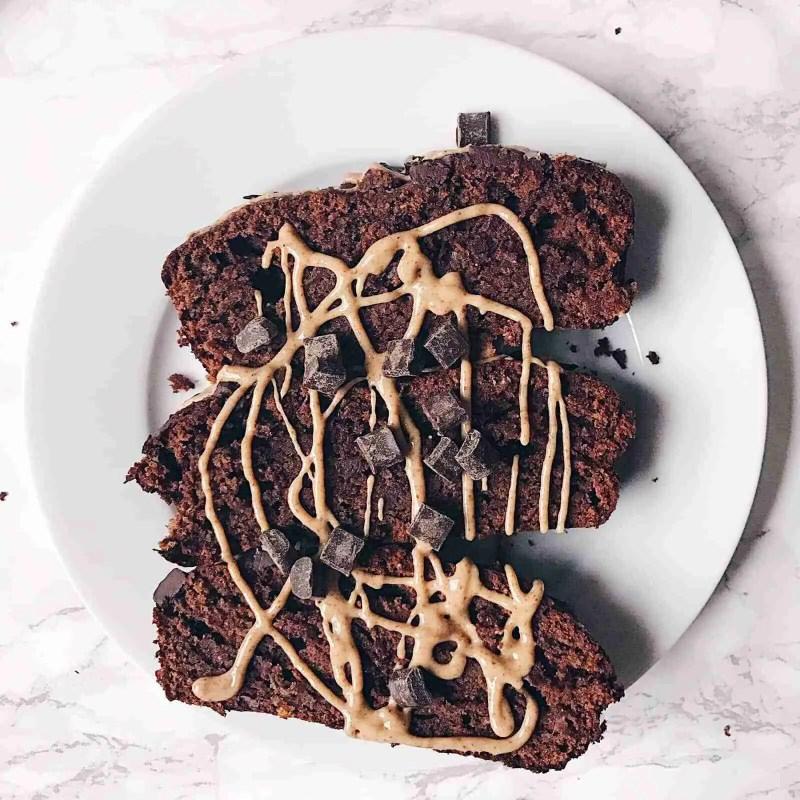Chocolate Peanut Butter Banana Bread Recipe - Vegan + Gluten free