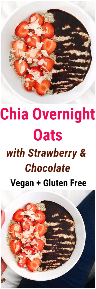 Chia Overnight Oats with Strawberry and Chocolate