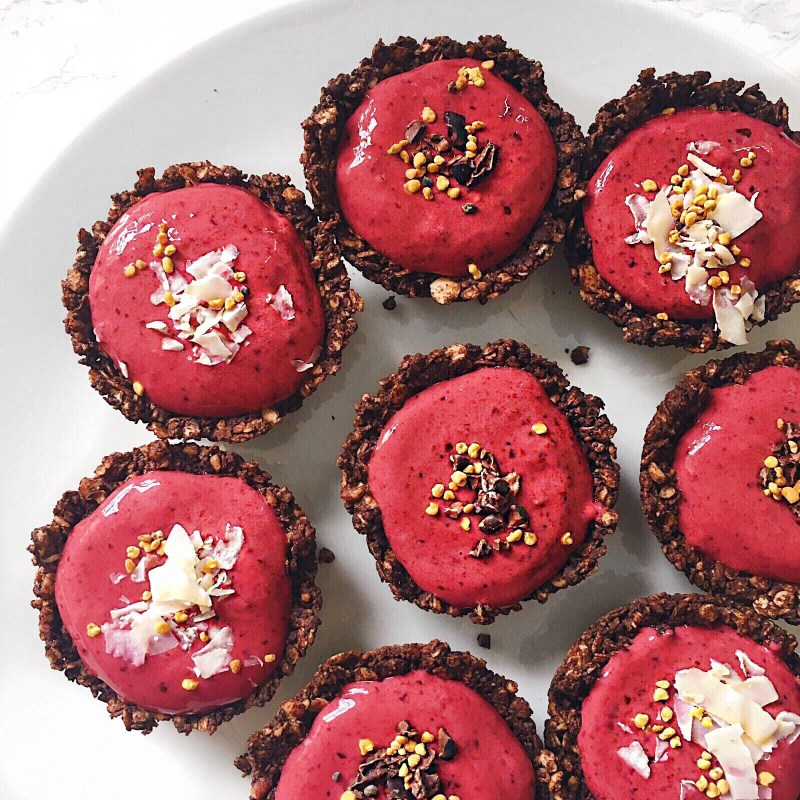 Chocolate Granola Cups with Cherry Cream