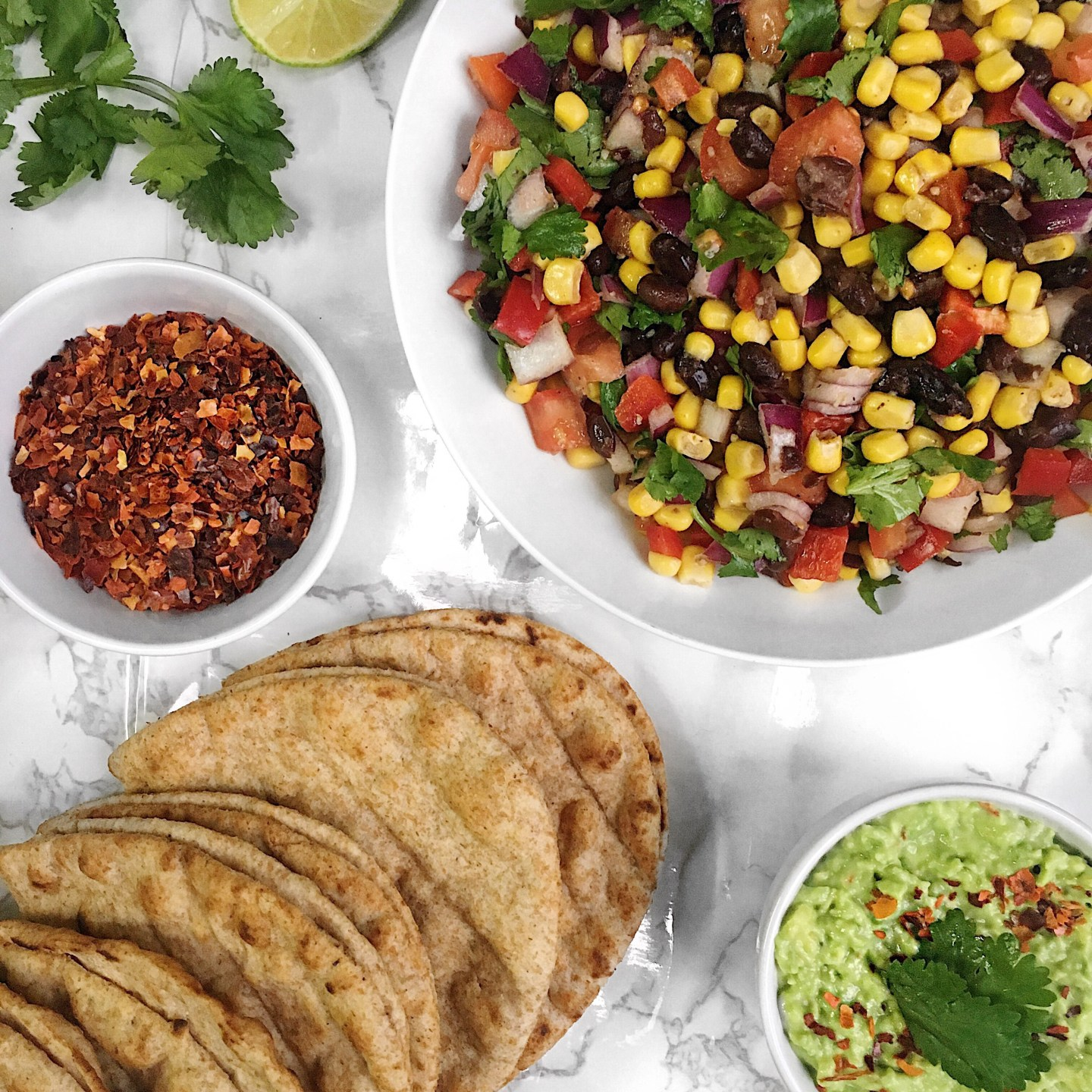 Vegan Tacos with Sweetcorn Salsa and Creamy Guacamole