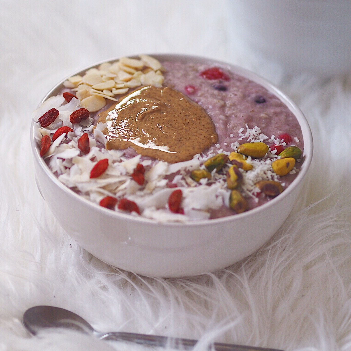 Mixed Berry Porridge, with Almond Butter