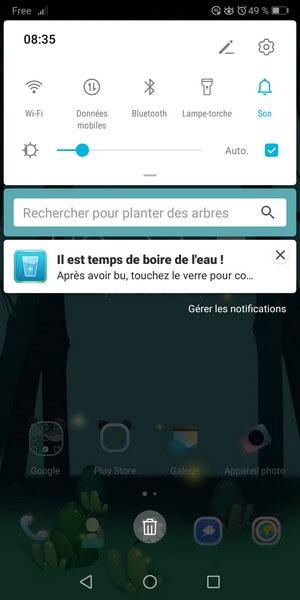 notification pour boire de l'eau