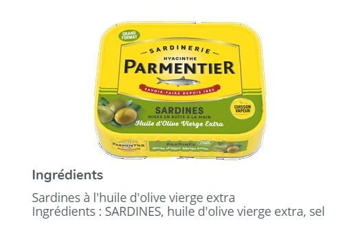 Aliment normalement transformé sardines