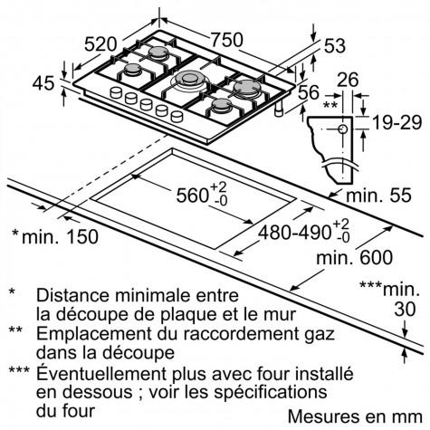 table de cuisson gaz 75cm 5 feux inox