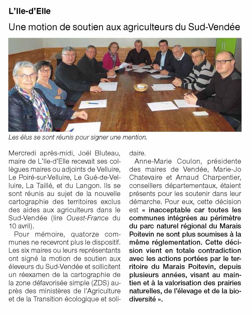 Une motion de soutien aux agriculteurs du Sud-Vendée