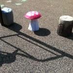 Toadstool and stump climbers at Chessie's Big BackYard