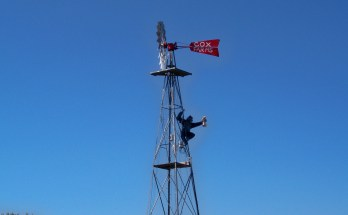 Gorilla on a windmill at Cox Farms The Joy Troupe NOVA