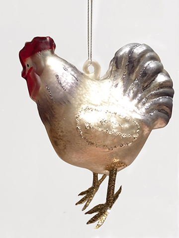 Chicken Family Of 3 Ornaments Glass Christmas Tree
