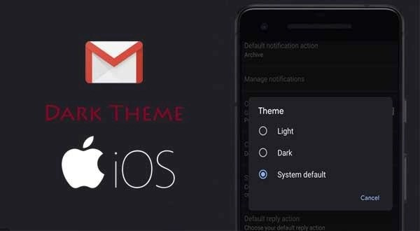 How to make Gmail display in dark mode