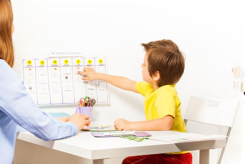 dziecko uczące się dat po angielsku